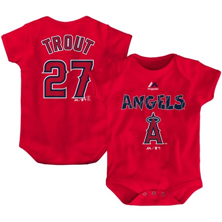 Mike Trout Los Angeles Angels Majestic Newborn & Infant Stitched Player Name & Number Bodysuit - Red