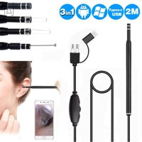 """GustaveDesign 3 in 1 USB Ear Cleaning Earpick LED Light Multifunctional Endoscope HD Visual Ear Cleaning Spoon with Waterproof Camera Ear Healthy Care Cleaning Tool """"Black"""""""