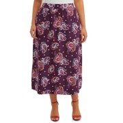 Terra & Sky Women's Plus Size Sueded Skirt