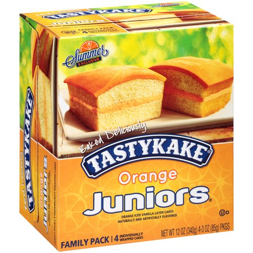 Tastykake Orange Juniors Orange Iced Vanilla Layer Cakes, 4 ct, 3 oz