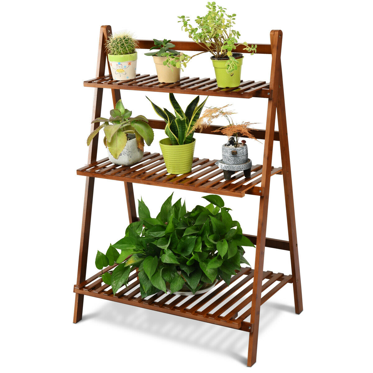 3 Tier Folding Shelf Stand Bamboo Flower Pot Display Rack Bookcase Organizer Walmart Canada