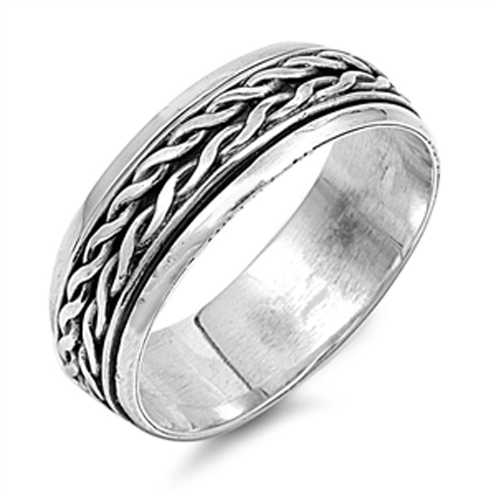 Men's Spinner Celtic Knot Weave Wedding Ring ( Sizes 6 7 8 9 10 11 12 13 ) 925 Sterling Silver Band Rings by Sac Silver (Size 9)
