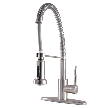 Kingston Brass GSY8888NKL Gourmetier Nustudio Single-Handle Pull-Down Kitchen Faucet, Brushed Nickel