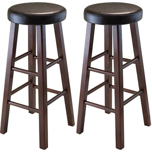 Winsome Wood Marta Cushion Seat Bar Stools, Set of 2, Antique Walnut