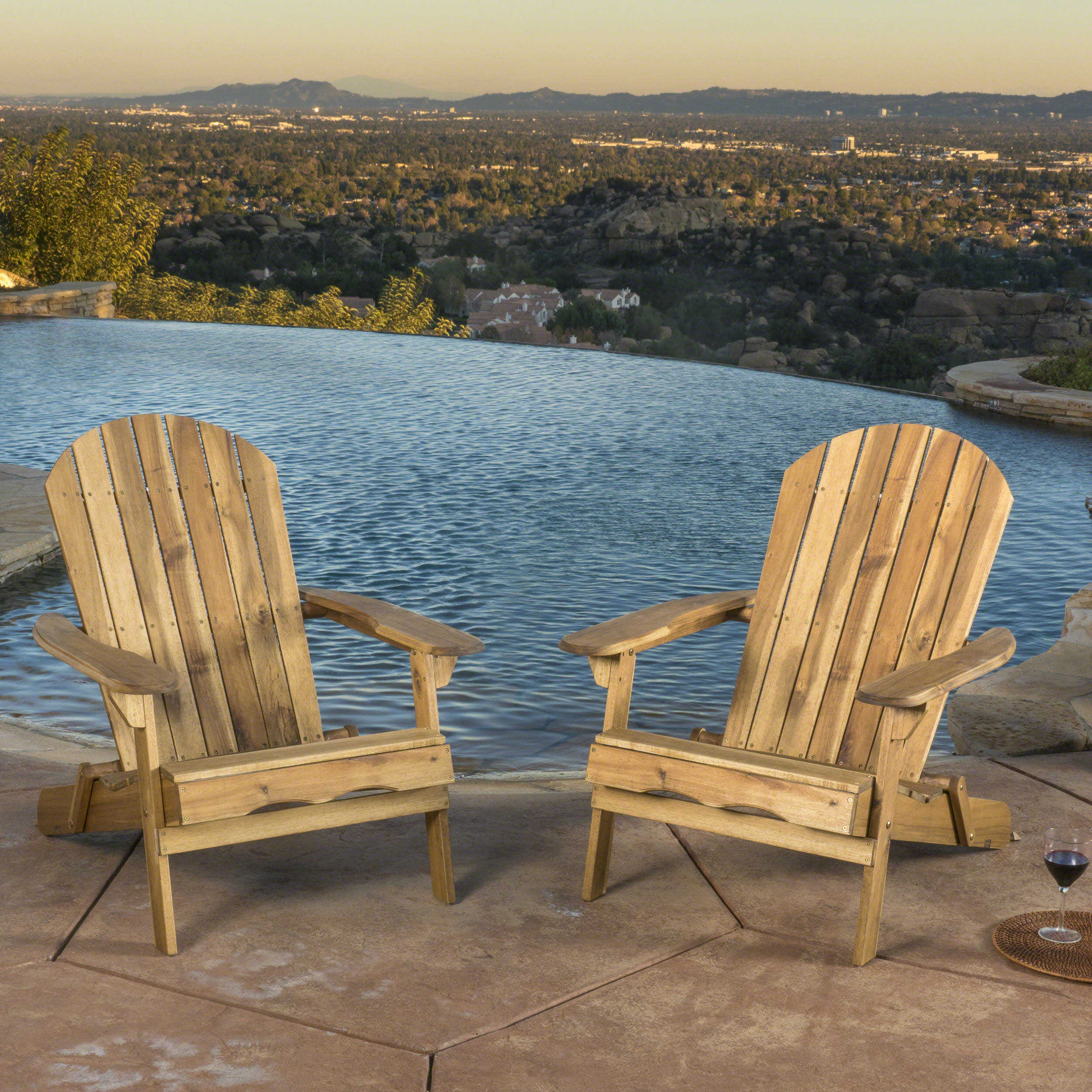 Morgan Folding Wood Adirondack Chair, Set of 2, Natural Stain