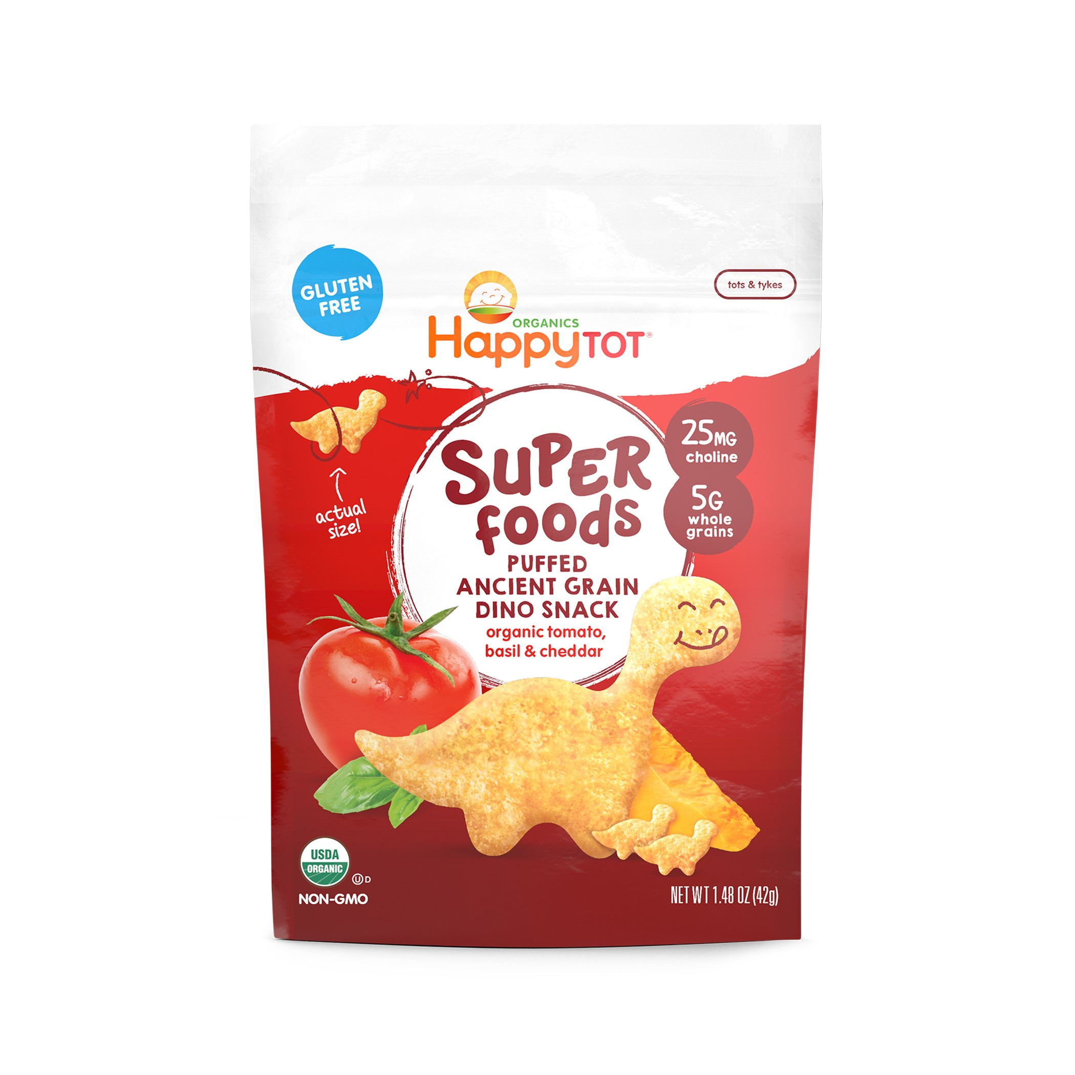 Happy Tot Super Foods Dinos, Organic Toddler Snack, Tomato, Basil & Cheddar, 1.48 Oz