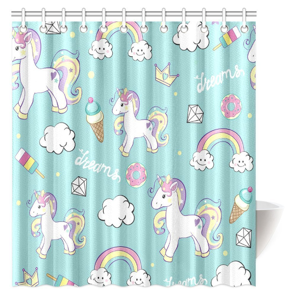 MYPOP Unicorn Home and Kids Decor Shower Curtain, Beautiful Unicorns with Diamond Ice Cream, and Clouds Bathroom Decor Set with Hooks, 66 X 72 Inches