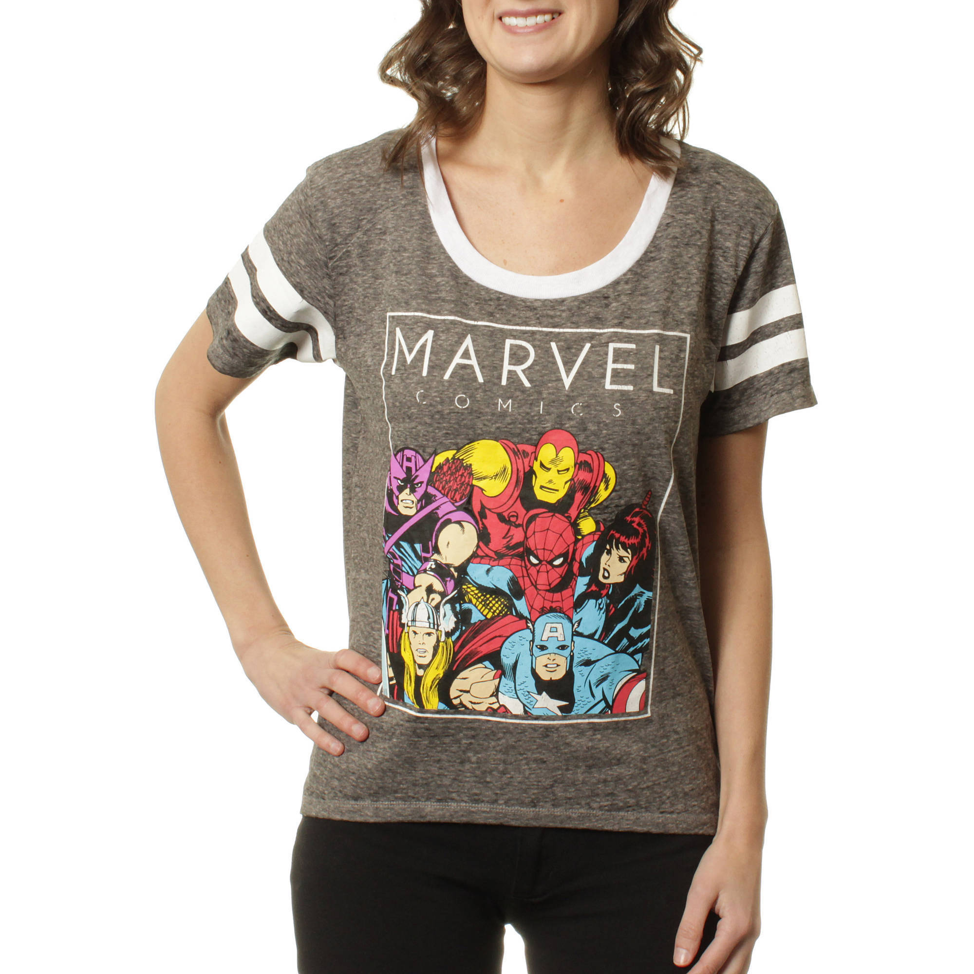 Marvel Juniors Graphic Sporty Athletic Burnwash with Sleeve Stripes