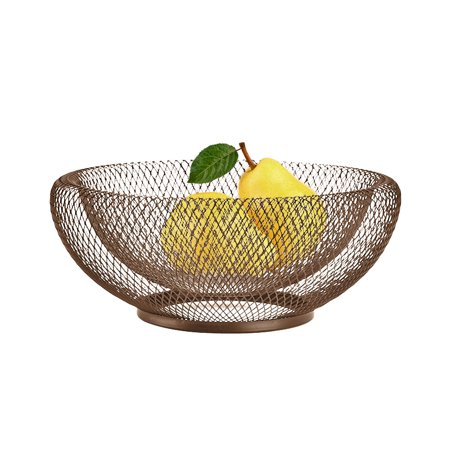 Wrought Iron Fruit Basket Double Layer Nordic Style Innovative Modern Dried Fruit Candy Storage Plate for Living Room (Best Dried Fruit For Iron)