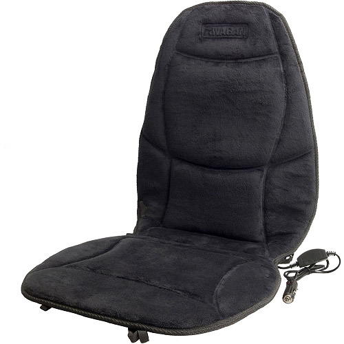 Wagan 12 Volt Black Velour Heated Seat Cushion with Lumbar Support, Model# 9438  (1 qty)