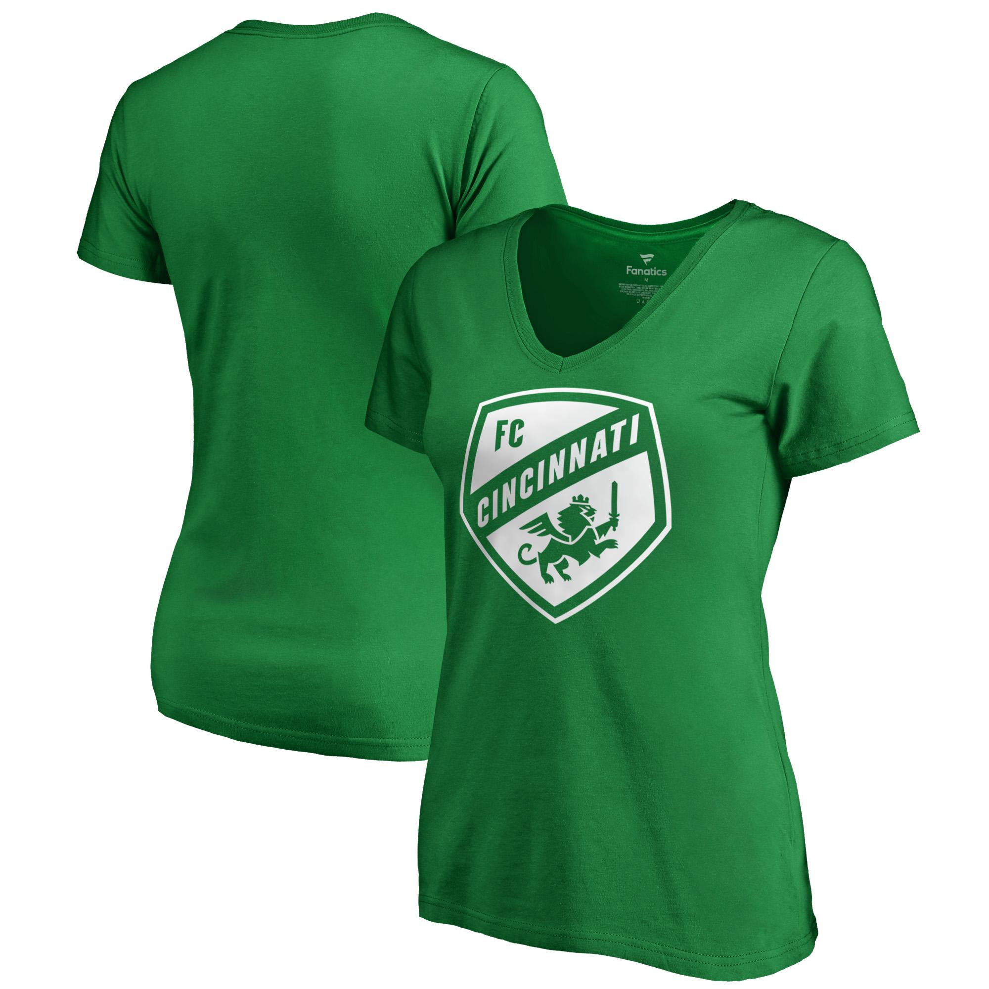 FC Cincinnati Fanatics Branded Women's Plus Size St. Patrick's White Logo V-Neck T-Shirt - Kelly Green