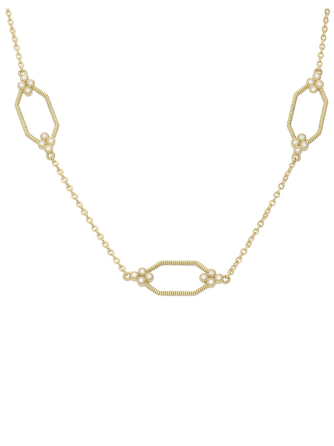 Juliette Diamond and 14K Gold Hexagonal Station Chain Necklace