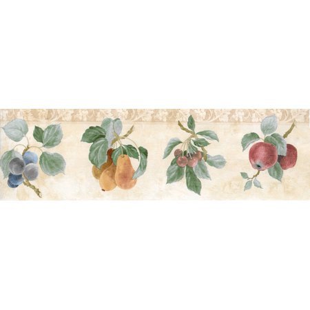 Prepasted Wallpaper Border - Fruits Green, Beige, Brown, Red, Blue Apple, Pear, Plum, Cherry Wall Border Retro Design, 15 ft x 7 in (4.57m x 17.78cm) - image 3 de 5
