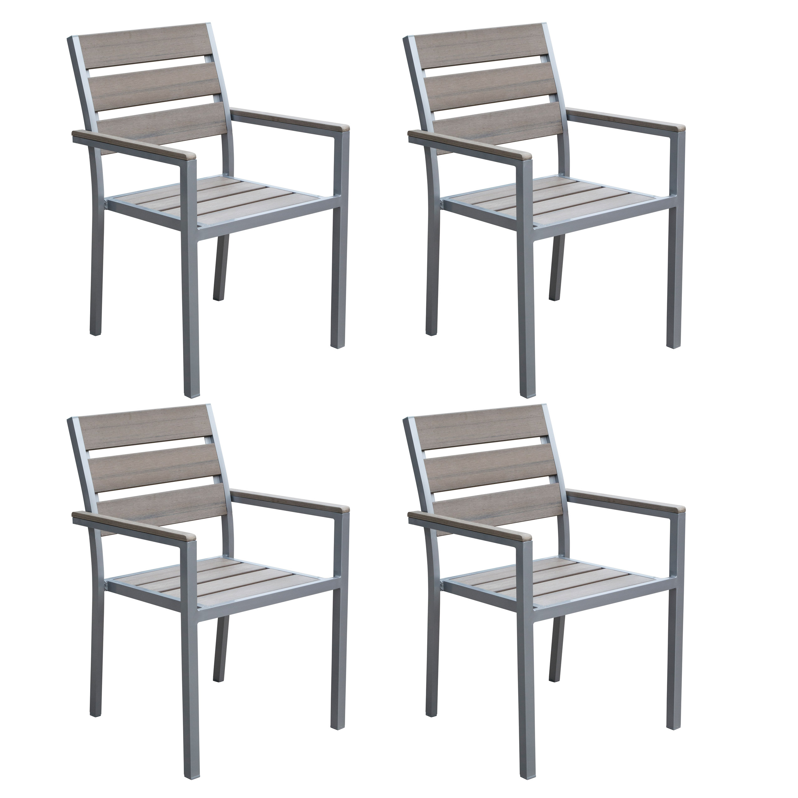 CorLiving Sun Bleached Grey Outdoor Dining Chairs, Set of 4
