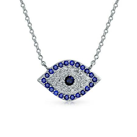 Blue Cubic Zirconia CZ Spiritual Evil Eye Necklace For Women For Teen 925 Sterling Silver Blue Evil Eye