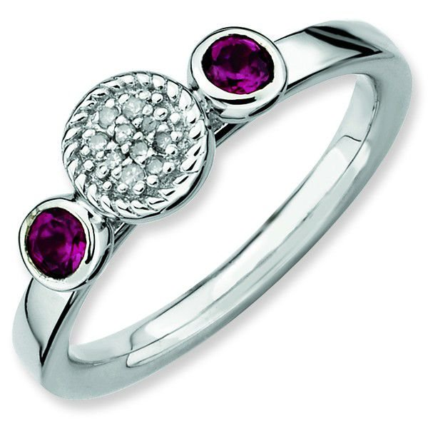 Double Rhodolite Garnet & Diamond Sterling Silver Stackable Ring by