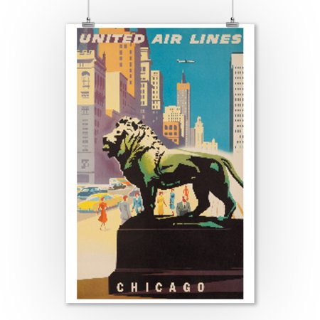 United Airlines   Chicago Vintage Poster  Artist  Binder  Usa C  1948  9X12 Art Print  Wall Decor Travel Poster