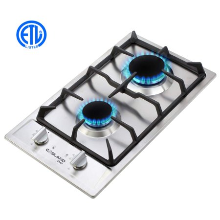 GaslandChef GH30SF Built-in Gas Stove Top, Stainless Steel LPG, Natural Gas 12'' Cooktop, 2 Sealed Burners, - Gas Manual Cooktop