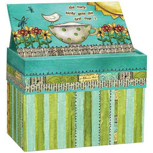 Artisan Recipe Card Box with Recipe Cards, Color My World
