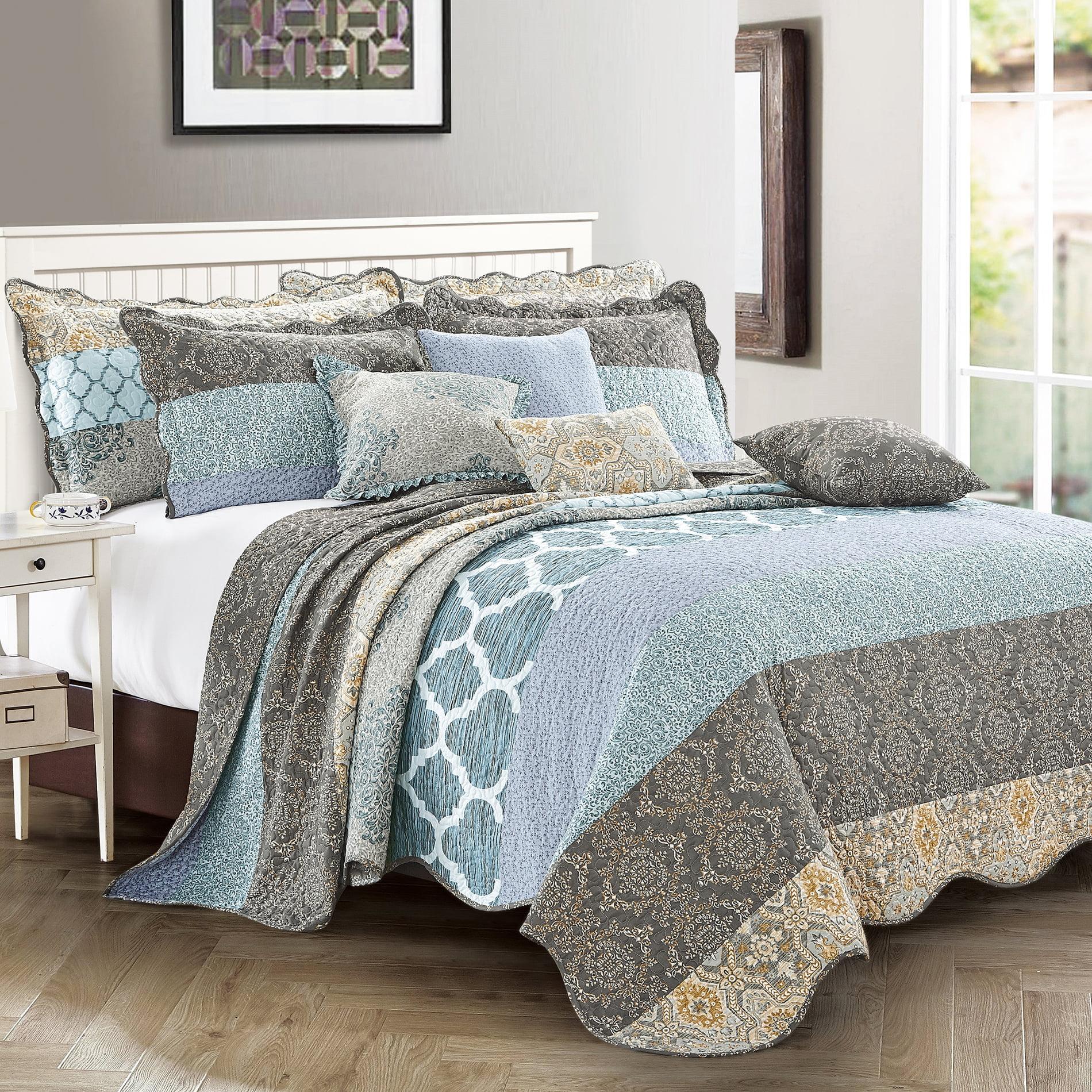 9 Piece Striped Bed Spread Set