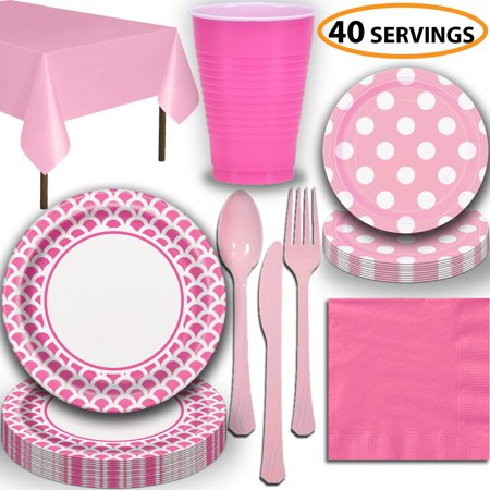 Disposable Tableware, 40 Sets - Hot Pink and Lovely Pink - Scallop Dinner Plates, Dotted Dessert Plates, Cups, Lunch Napkins, Cutlery, and Tablecloths: Premium Quality Party Supplies - Party Tablecloths And Napkins