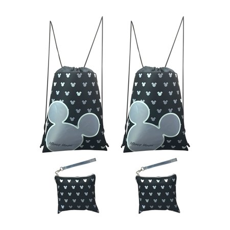 Disney Mickey Mouse Glow in the Dark Drawstring Backpack Pack of 4 (Silver)