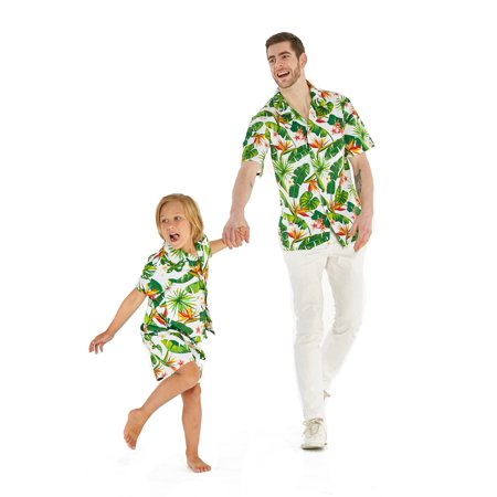 Matching Father Son Hawaiian Luau Outfit Men Shirt Boy Shirt Shorts Bird of Paradise White M-8 - Luau Hawaii