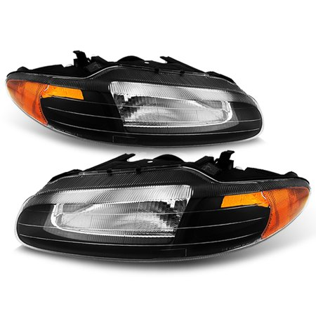 Fit 96-00 Chrysler Sebring Convertible Black Replacement Headlights Lamps LH RH 00 Chrysler Sebring Convertible