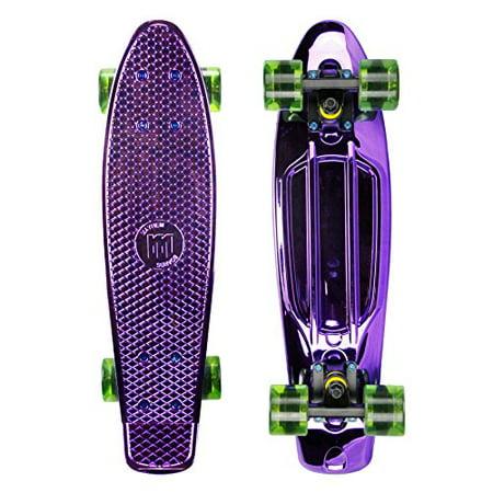 Mayhem Penny Style Board Anodized Purple Green 22  Plastic Cruiser Board Old School Abec 7