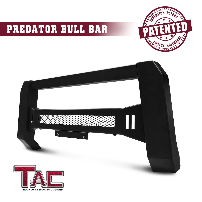 TAC Predator Mesh Version Modular Bull Bar for 2007-2018 Chevy Silverado / GMC Sierra 1500 Pickup Truck Front Brush Bumper Grille Guard Fine Textured Black Suitable for LED Off-Road Lights