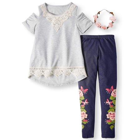 Crochet Tunic & Knit Denim Legging, 2-Piece Outfit Set with Flower Headband (Little Girls & Big Girls)
