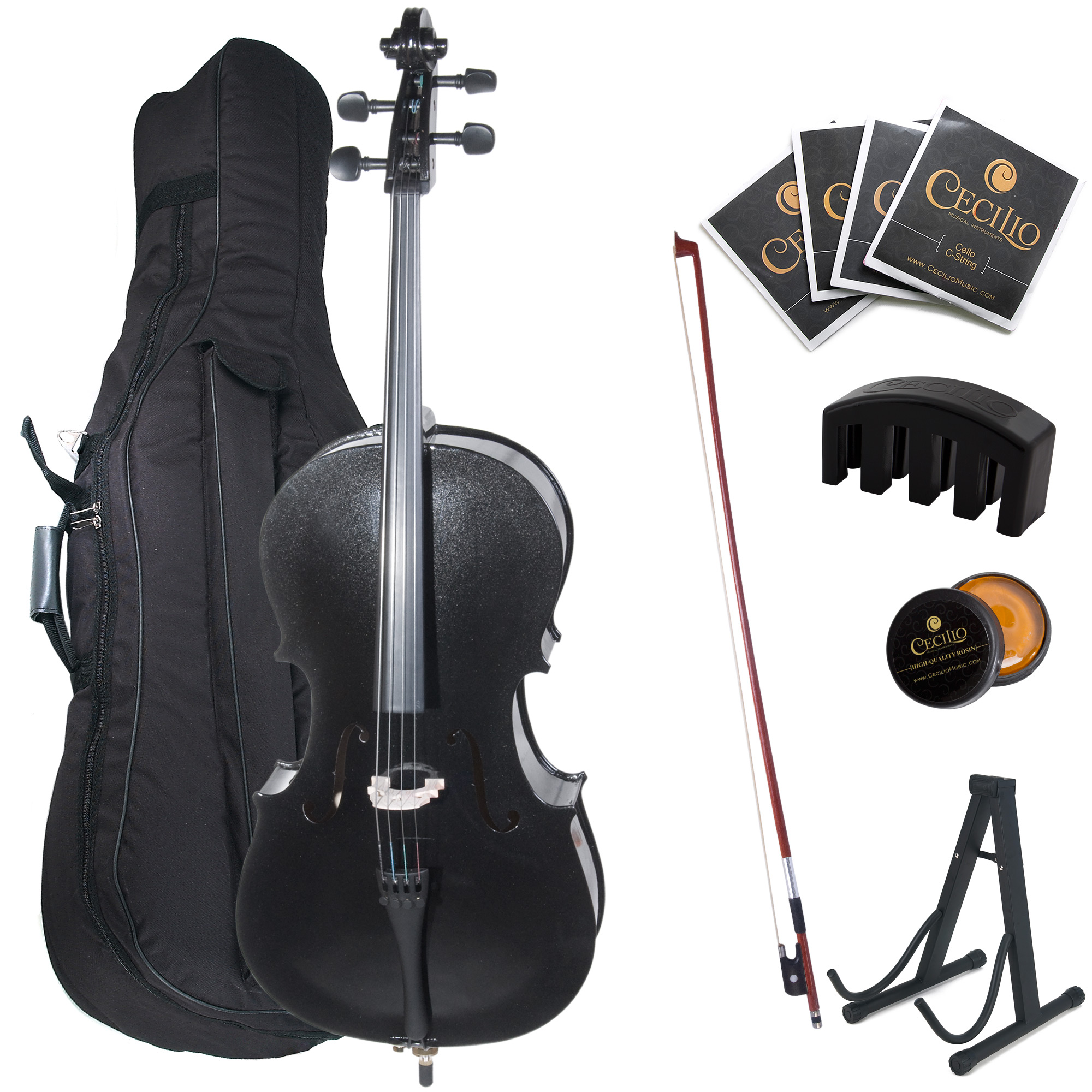 Cecilio Full Size 4/4 CCO-Black Student Cello w/ Cello Stand, Extra Set Strings, Bow, Rosin, Bridge, Cello Mute & Soft Case