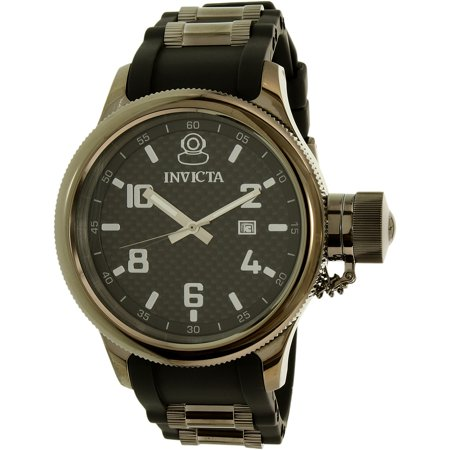 Invicta Men's Russian Diver 0555 Black Rubber Swiss Quartz Dress Watch