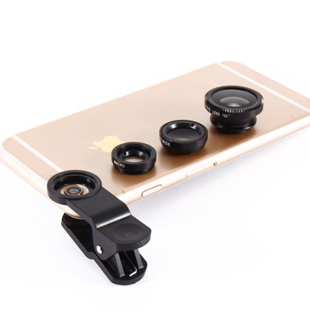 3-in-1 Universal Clip-On Camera Smartphone Fish Eye Macro Wide Angle Lenses