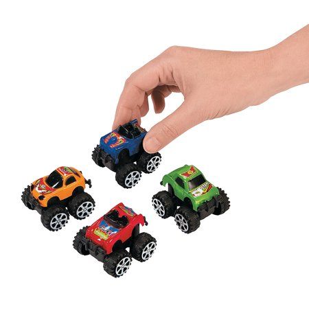 Fun Express - Mini Pullback Truck Assortment - Toys - Vehicles - Cars & Boats & Racers - 12 Pieces
