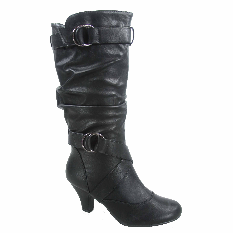 Maggie-39 Women's Round Toe High Heel Zipper Mid-Calf Causal Dress Boots Shoes