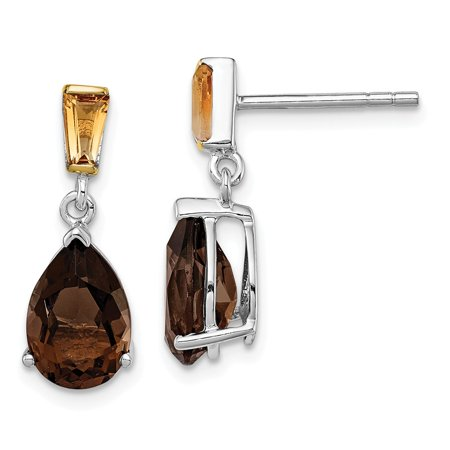 14k Gold Smokey Quartz Earrings - Roy Rose Jewelry Sterling Silver & 14K Yellow Gold 3-1/2 Carat tw Smoky Quartz and Citrine Earrings
