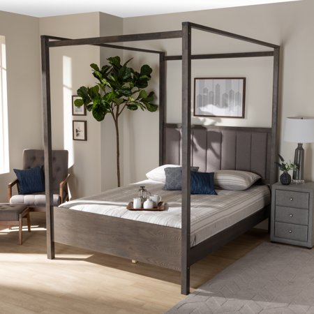 Baxton Studio Natasha Modern and Contemporary Grey Fabric Upholstered and Dark Grey Oak Finished Wood Queen Size Platform Canopy Bed Set Wood Finish Canopy Bed