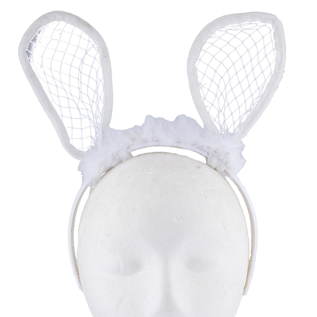 Lux Accessories White Furry Bunny Rabbit EarsCostume Halloween Headband (Bunny Headbands)