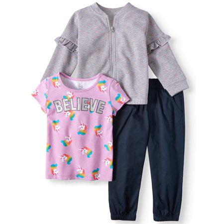 42fbf61d8d Ruffle Detail Bomber Jacket, T-shirt, & Pants, 3-Piece Outfit Set (Toddler  Girls)