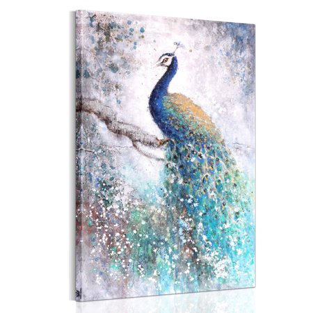 50x75cm Vintage Oil Canvas Painting Blue Peacock Wall Art Picture With DIY Wood Frame