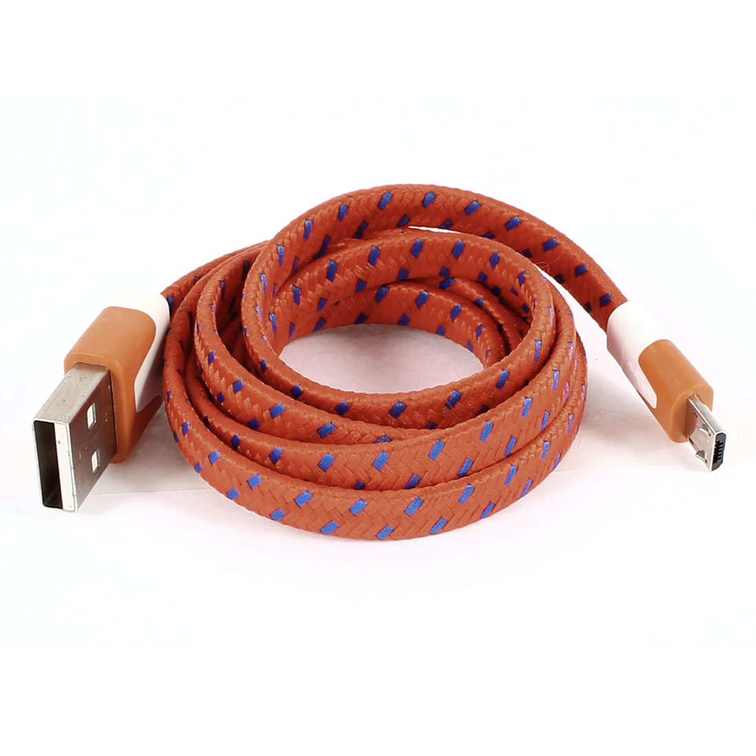 Unique Bargains Orange USB 2.0 Type A Male to Micro USB Male Flat Data Sync Charging Cable 1M