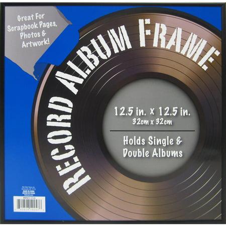 12x12 metal record frame black