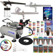 New 3 Airbrush Kit 6 Primary Colors Air Compressor Dual-Action Color Wheel Set