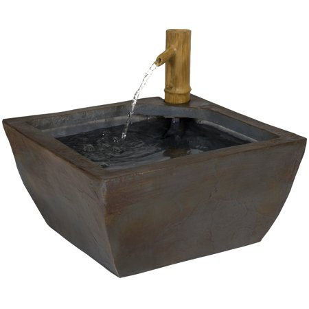 Best Choice Products 16in Indoor/Outdoor Polyresin Bamboo Spout Water Fountain Garden Decor w/ Pump - Gray
