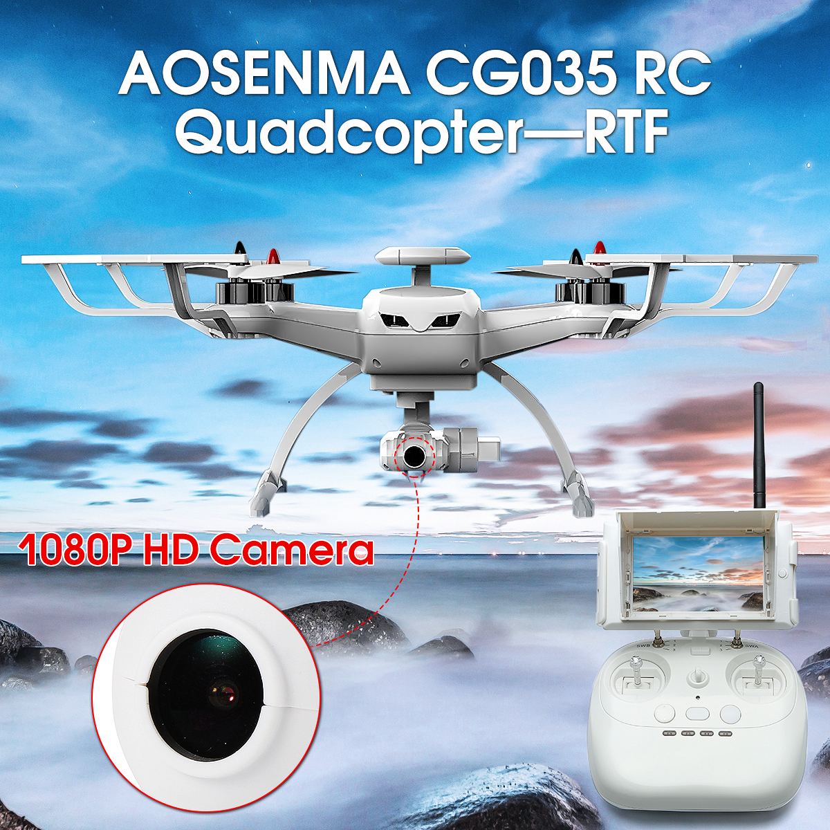 AOSENMA CG035 Brushless Double GPS 5.8G FPV 1080P HD Gimbal Camera RC Quadcopter with FPV Monitor