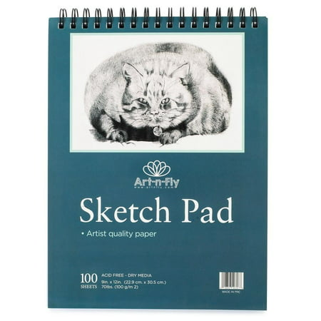 100 9x12 Inch Sheet Medium Texture Spiral Bound Sketchpad for Drawing Markers Sketching Pens Pencils Coloring