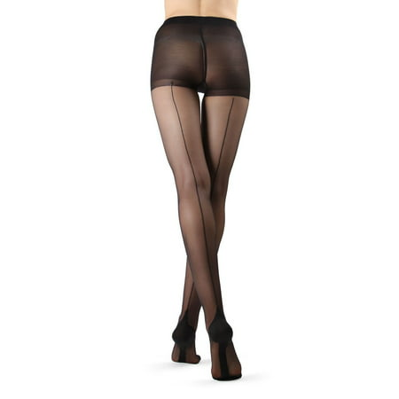 Back Seam Pantyhose Stockings - MeMoi Cuban Heel Stocking | Seamed Pantyhose by MeMoi Large / Black/Black MM 618