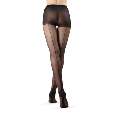 MeMoi Cuban Heel Stocking | Seamed Pantyhose by MeMoi Large / Black/Black MM 618