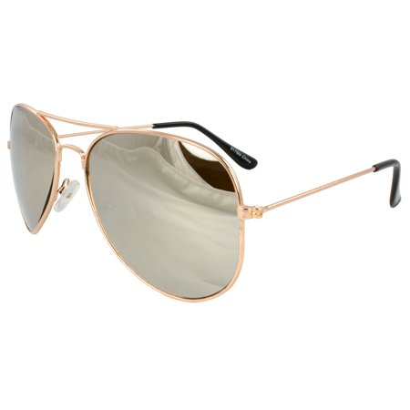 Pilot Fashion Aviator Sunglasses Gold Frame with Mirror Lenses for Men and (Pilot Sunglasses For Men)